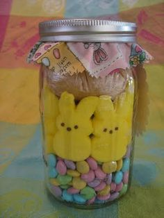 Peeps in a Jar/Bunny Brownies. I imagine this will work with Halloween or Christmas Peeps, too?