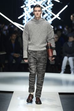 Twisted cashmere funnel neck sweater, wool pants, textured calfskin document holder with elastic band #CanaliFW15 #FW15 #menswear #moda #mfw