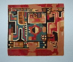 Huari textile fragment; cotton warps and camelid fibre wefts; interlocking tapestry; profile running figure, holding staff in one hand; elaborate ...