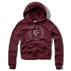 Abercrombie & Fitch Logo Graphic Hoodie ($32) ❤ liked on Polyvore featuring tops, hoodies, sweater's, burgundy, burgundy hoodie, purple hooded sweatshirt, abercrombie fitch top, hooded sweatshirt and hooded pullover