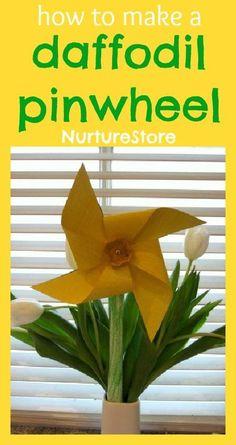 Beautiful and fun! Daffodil pinwheel / windmil spring flower craft.