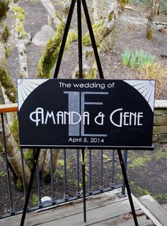 Great Gatsby Wedding Sign Personalized Custom Sign, Wedding Welcome Sign, Art…