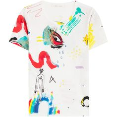 Marc Jacobs Printed Cotton T-Shirt (6.260 RUB) ❤ liked on Polyvore featuring tops, t-shirts, shirts, tees, multicolored, multi color t shirts, cotton shirts, patterned shirts, white cotton t shirts and slim fit white shirt