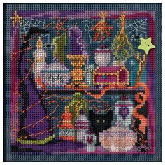 """Wanda's Witchery Autumn Buttons & Beads Counted Cross Stitch-5""""X5"""" 14 Count"""