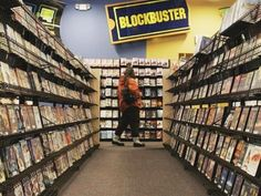 Renting VHS tapes at Blockbuster.