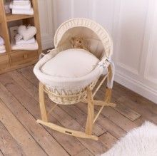 Discover the Clair de Lune Waffle Natural Wicker Moses Basket. Perfect for a gender neutral nursery if you're keeping the sex of your baby a secret and it's a simple design that coordinates with most decor. Made with love in the UK using 100% breathable Cotton fabric, making the perfect first bed for your little one.