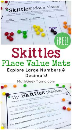 These FREE Skittles place value mats help kids to visualize large numbers and decimal numbers using Skittles candy. They then use the corresponding worksheet to build on their understanding of place value. Place Value Games, Place Value Activities, Math Activities, Math Games, Math Math, Math Fractions, Multiplication, Maths, Place Value With Decimals