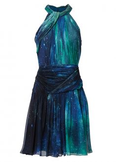 Sapphire Patina Galaxy Silk Chiffon Dress - Dresses - Matthew Williamson