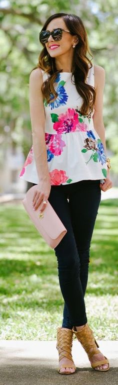 White Floral Peplum Outfit Idea by Sequins & Things