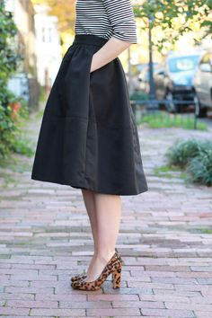 Poor Little It Girl - Express Black Midi Skirt, Kate Spade Saturday Black and White Striped top and Hat Attack Back Panama Hat