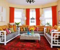 The color red has the power to completely change the feel of a space. More red living rooms: http://www.bhg.com/rooms/living-room/makeovers/red-living-rooms/?socsrc=bhgpin071113redcarpet=8