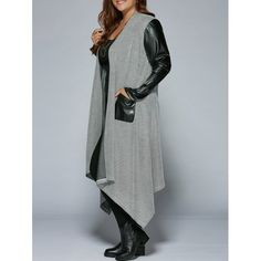 Wholesale Plus Size Pu Patchwork Long Asymmetrical Coat In Black And Grey 4xl | TrendsGal.com