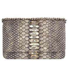 Chanel Chanel 2013 early spring vacation series gray snakeskin pattern decorative metal wallet