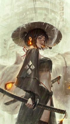 'Ronin' ~female wandering samurai illustration by GUWEIZ (on Deviantart) Samurai Girl, Ronin Samurai, Female Samurai Art, Fantasy Samurai, Samurai Drawing, Samurai Anime, Medieval Fantasy, Samurai Artwork, Fantasy Kunst