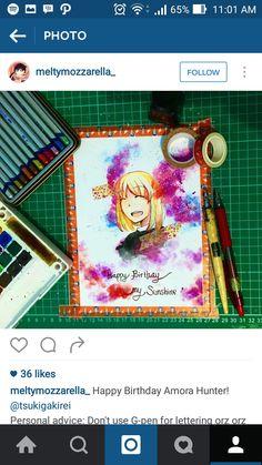 Happy Birthday Amora Hunter - Meltymozzarella Tools : - Pilot Eno Color (red) - Sakura KOI 24 Watercolor - Concorde 200gsm - Winston Black Ink - G-pen  - Washi Tape - Derwent Charcoal Pencil