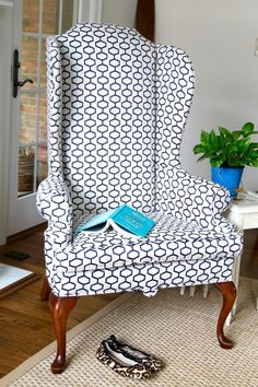 Love the modern look for this highback chair. - The 2 Seasons