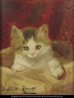 Kitten on a pink cushion   by Henriette Ronner-Knip