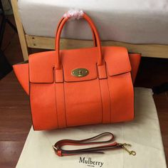 2017 New Mulberry Bayswater with Strap Bright Orange Grain Leather
