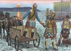 "Giuseppi Rava - A Mycenaean 4 wheeled chariots, some late bronze age warriors and one of Homer's ""Achaeans"" black ships."