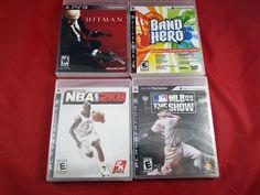 4 LOT PLAYSTATION 3(PS3) VIDEO GAMES-HITMAN:ABSOLUTION,NBA 2K8,BAND HERO,MLB 09 #PlayStation3