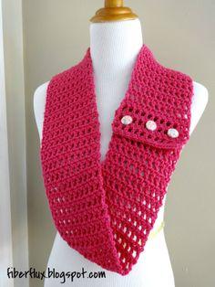 Free Crochet Pattern...Honolulu Button Scarflette!