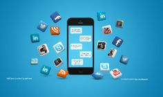 A social media themed Prezi Template.  Black smartphone on a blue 3D background with flying social media icons.  Good template for presenting anything related with social media, communication,  internet or online marketing.  Rearrange or duplicate the chat bubble shaped boxes to add more placeholders for your content or zoom in and add your content anywhere else on the canvas.