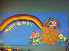 Spring Bulletin board, Easter, Easter Eggs, Rainbow, Easter Basket, Watercolor Eggs #littlehandsbigplans