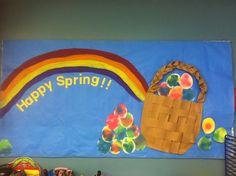 Spring Bulletin board, Easter, Easter Eggs, Rainbow, Easter Basket, Watercolor Eggs #littlehandsbigplans