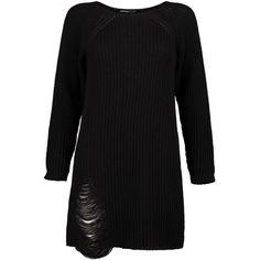Boohoo Petite Amanda Distressed Oversized Jumper Dress | Boohoo ($21) ❤ liked on Polyvore featuring dresses, torn dress, ripped dress, petite dresses, oversized dress and boohoo dresses
