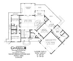 Great floor plan! Hot Springs Cottage 2653 House Plan 13003, 1st Floor Plan, Craftsman Style House Plans, Mountain Style House Plans