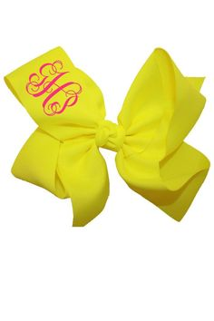 "This personalized medium neon yellow hair bow is made of 2.25"" grosgrain ribbon to give you a full effect. It is a popular gift among young tweens and teens and even high school kids! Turnaround time is 3 business days plus shipping time. For customization please email Stylist@shoptiques.com with your choice of heat press color, monogram style and monogram initials. All custom items are final sale.     Measures: 6.5"" across   Personalized Neon-Yellow Bow by Party Cat. Accessories Austin…"