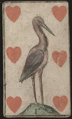 bird on antique playing card