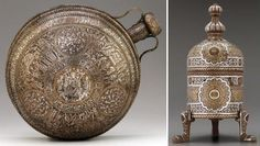 Two metalworks from classical Islamic times: Incense burner made for Sultan Qala'un (reigned 1294-1340) [Egypt or Syria, 1294-1340; beaten brass, inlaid with gold, silver, and a black compound]; and a large canteen, the only known example of its kind from the Islamic world; it recalls the shape of ceramic pilgrim flasks. Its inlaid silver decoration combines different styles of calligraphy and decorative motifs, such as intricate geometric designs, and lively animal scrolls [Syria, mid-13th