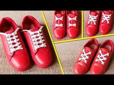 4 Beautiful ways to tie Shoe Laces Shoe Lacing Techniques, Ways To Lace Shoes, Creative Shoes, Tie Shoelaces, Decorated Shoes, Tie Shoes, Couture, Diy Clothes, Converse