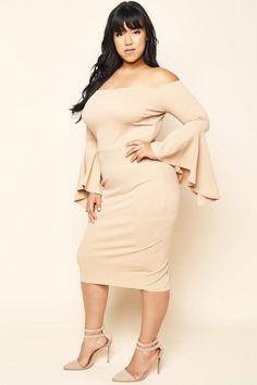 Midi Flared Sleeve Dress Dresses+ GS-LOVE