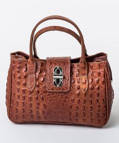 Look what I found on #zulily! Marrone Crocodile Textured Leather Satchel by Pelleterie Lisa #zulilyfinds