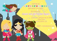Girl Superhero Birthday Superfriends Invitation - DIY Print Your Own. $12.00, via Etsy.