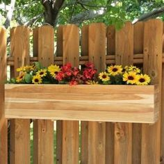 Beautiful gallery of flower box ideas.See garden flower box designs, the best flowers to use and pictures of wood, deck, fence, patio & window flower boxes. Fence Planters, Window Planter Boxes, Backyard Fences, Backyard Landscaping, Backyard Ideas, Fence Garden, Fence Ideas, Patio Ideas, Porches