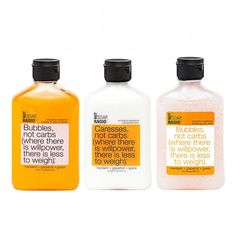 Bubbles, not carbs: bath/shower gel, hand/body lotion and exfoliating body wash