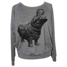 Happy Hippo Sweatshirt Gray now featured on Fab.