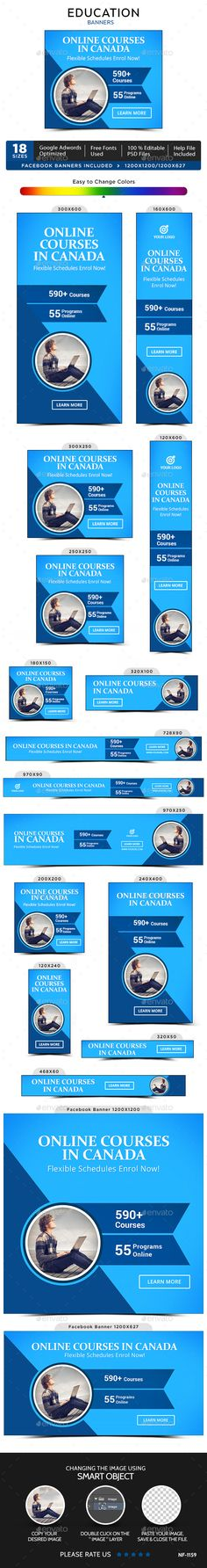 Education Banners by doto Promote your Products and services with this great looking Banner Set. Diy Banner, Banner Template, Free Website Templates, Psd Templates, Facebook Ad Size, Education Banner, Banner Drawing, Summer Banner, One Page Website