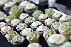Wedding Cupcakes  Green | Grey | White | Black Wedding  Steamwhistle Brewery, Toronto  For all the details, check out http://www.weddinggirl.ca/blog/2013/04/30/james-kyla-04-27-13-steamwhistle-brewery-wedding-toronto/