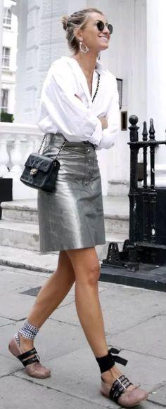 zara metallic Silver skirt genuine leather high waist Size L    eBay