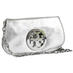 Pre-owned Tory Burch Metallic Logo Clutch Silver Cross Body Bag ($219) ❤ liked on Polyvore featuring bags, handbags, silver, white crossbody purse, pre owned handbags, silver cross body purse, metallic purse and silver purse