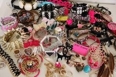 betsey johnson jewelry. If I could afford all her stuff.... This is what my dresser would look like..