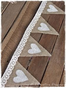 Lovely single sided fabric bunting for any Wedding, Garden Party ,Fete. Lace Cream, Ivory or White, Hessian Bunting. Burlap Hessian Calico Heavier weights but still idea for bunting. Hessian Wedding, Wedding Bunting, Rustic Wedding, Wedding Decorations, Wedding Country, Lace Wedding, Wedding Centerpieces, Wedding Dresses, Lace Bunting