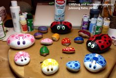 Ladybug and mushroom projects - painted rocks - Julesong Rahx, 2014
