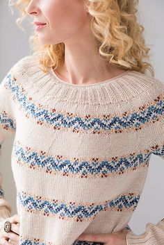 Vogue Knitting, Holiday Fair Isle Band Pullover pattern by Lone Kjeldsen Vogue Knitting, Hand Knitting, Gamine Style, Fair Isles, Plymouth Yarn, How To Start Knitting, How To Make Clothes, Fair Isle Knitting, Crochet Top