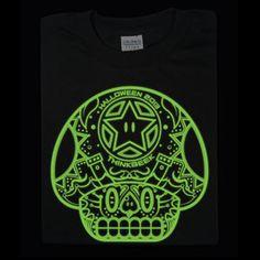Glow in the Dark! day of the dead mario mushroom tshirt glow in the dark skull candy sugar