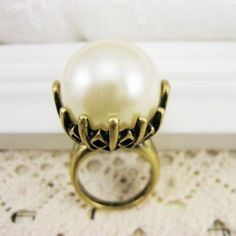 Vintage Big Pearl Cocktail Ring - Rings - Jewelry Free shipping